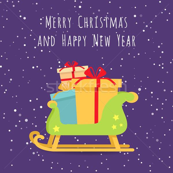 Karácsony ajándékok szánkó tájkép vidám boldog új évet Stock fotó © robuart