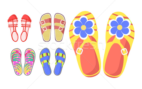 Set of Summer Shoes in Cartoon Style Flat Design Stock photo © robuart