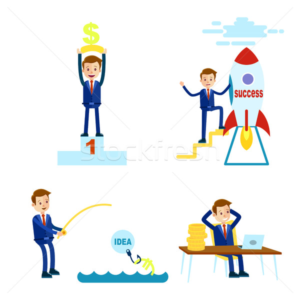 Jómódú rajz üzletember illusztrációk szett kék Stock fotó © robuart