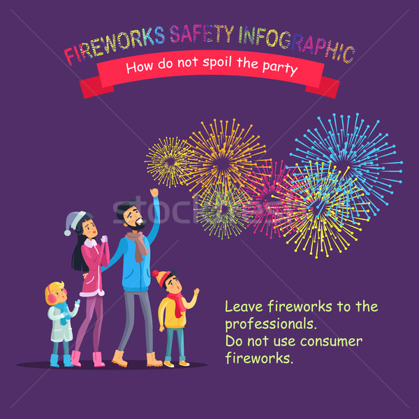 Fireworks Safety Infographic, People Look at Sky Stock photo © robuart