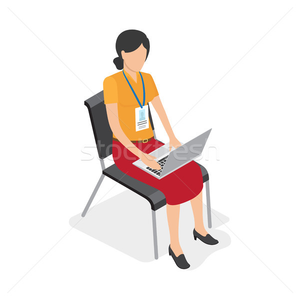 Woman Character with Laptop Isolated Illustration Stock photo © robuart
