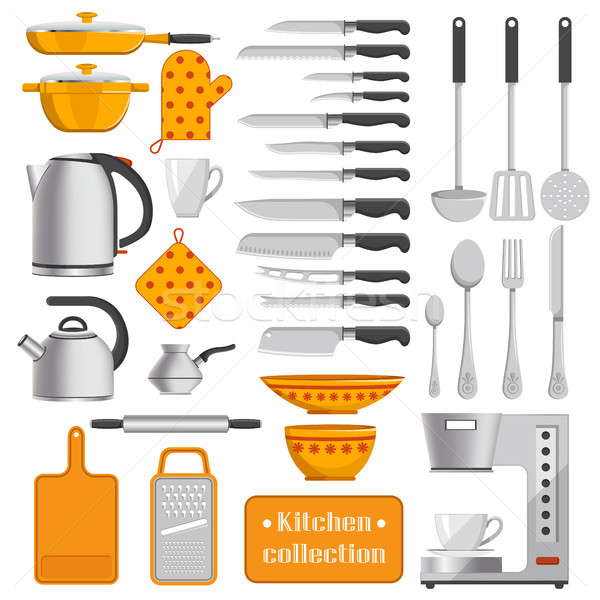 Stock photo: Kitchen Collection of Tableware and Appliances