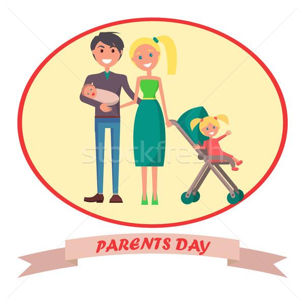 バナー 献身的な 親 日 碑文 両親 ストックフォト © robuart