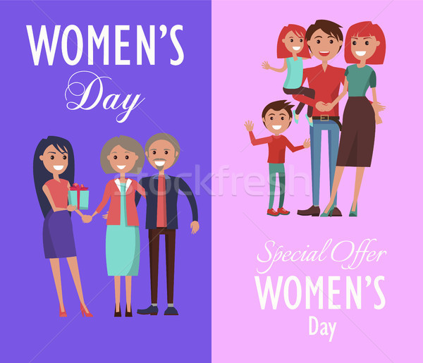 Set Posters Dedicated to Women s Day Celebration Stock photo © robuart