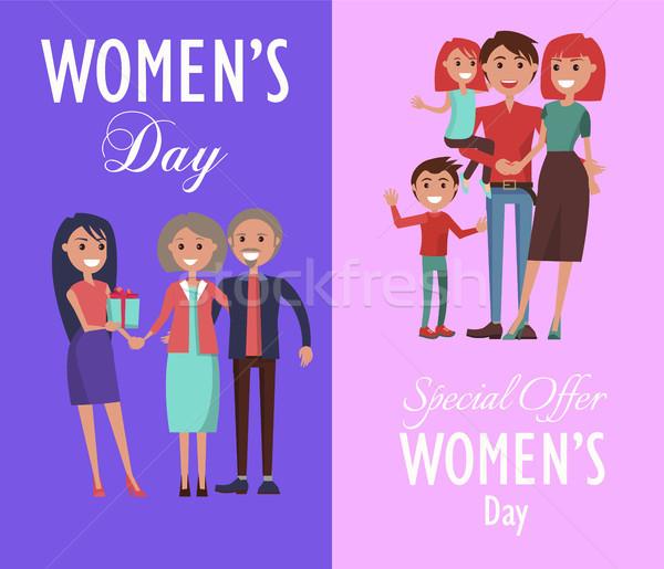 Establecer carteles dedicado mujeres día celebración Foto stock © robuart