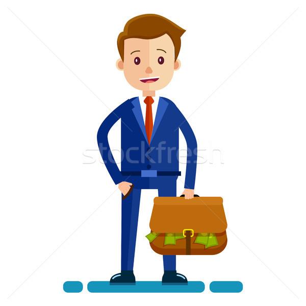 Businessman with bag Full of Money Illustration Stock photo © robuart