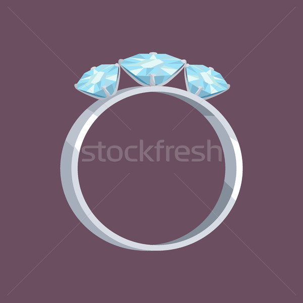 Silver or White Gold Ring with Three Blue Stones Stock photo © robuart