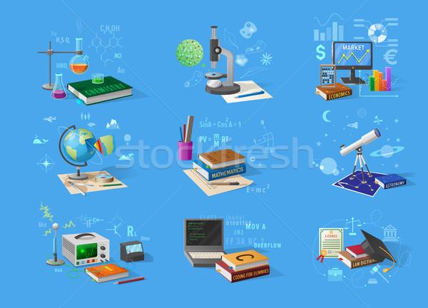 Nauki technologii badań wyposażenie zestaw chemia Zdjęcia stock © robuart