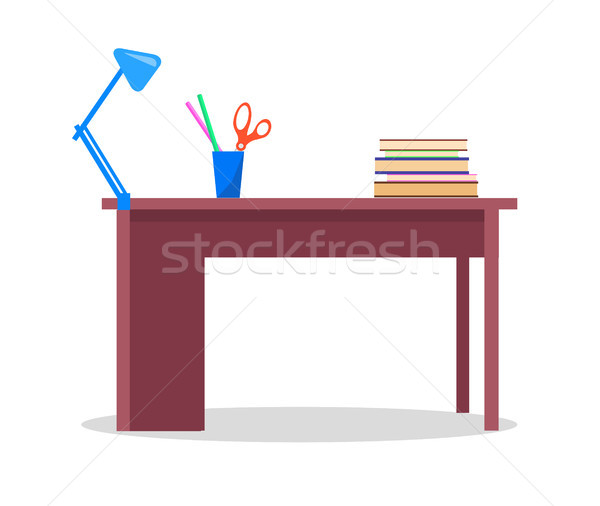 Teacher's Table with Books, Stationery and Lamp Stock photo © robuart
