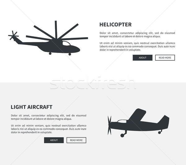 Helicóptero luz aeronave conjunto preto banners Foto stock © robuart