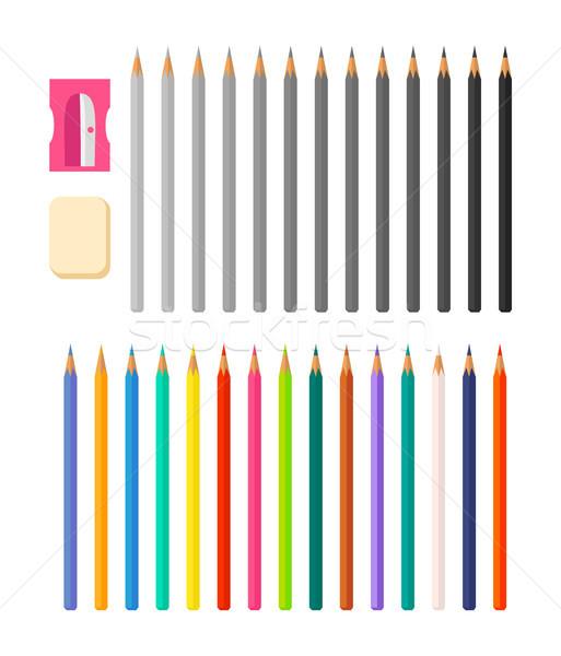 Kırtasiye örnek simgeler kalemler yalıtılmış Stok fotoğraf © robuart