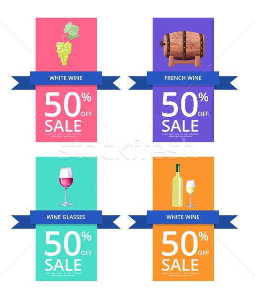 Stok fotoğraf: Beyaz · şarap · 50 · satış · etiketler · şişe · ahşap