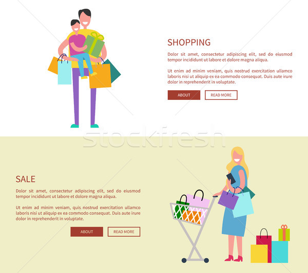 People with Shopping Bags Vector Illustration Stock photo © robuart