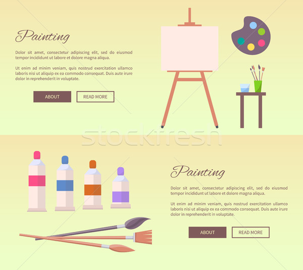 Painting Art Supplies Web Banners Vector Icons Stock photo © robuart