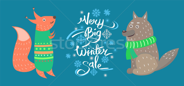 Very Big Winter Sale Vector Icons Squirrel Wolf Stock photo © robuart