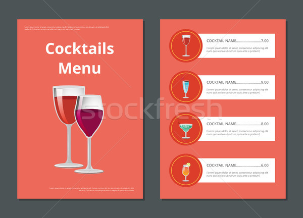 Cocktail menu advertentie poster prijzen Stockfoto © robuart