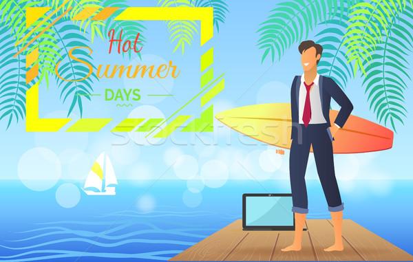 Hot Summer Days Businessman Vector Illustration Stock photo © robuart