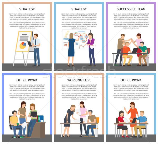 Strategie kantoorwerk ingesteld werken taak geslaagd Stockfoto © robuart