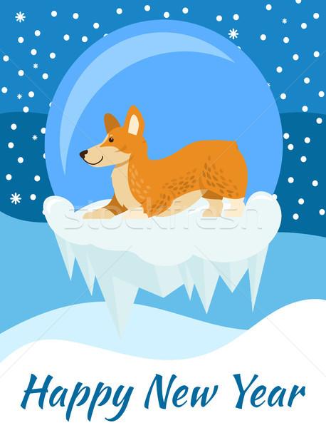 Gelukkig nieuwjaar felicitatie poster hond Blauw gedekt Stockfoto © robuart