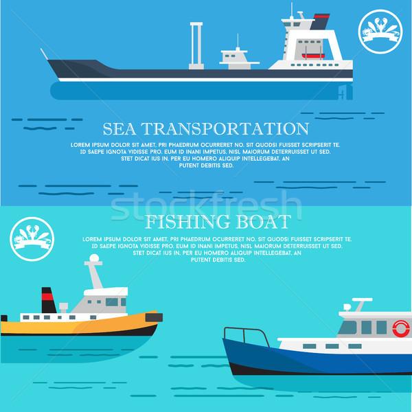 ストックフォト: 海 · 交通 · 漁船 · ポスター · 広告 · 輸送