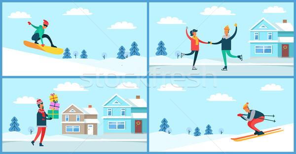 Wintertime Activities Placards Set Vector Illustration Stock photo © robuart