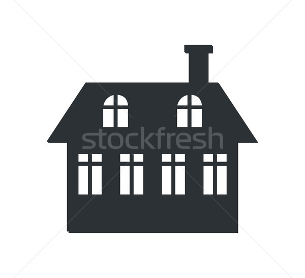 Two Storey House with Chimney Black Silhouette Stock photo © robuart