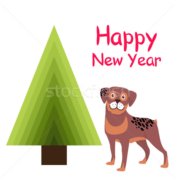 Happy New Year Greeting Card Cartoon Spotted Puppy Stock photo © robuart