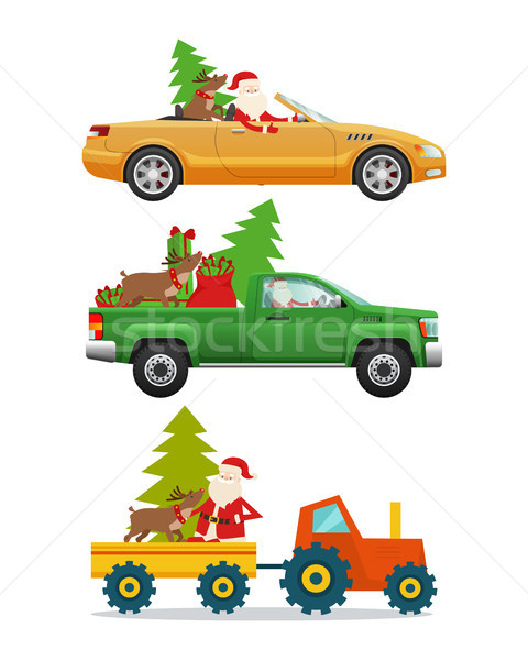 Santa Claus in Different Kinds of Modern Transport Stock photo © robuart