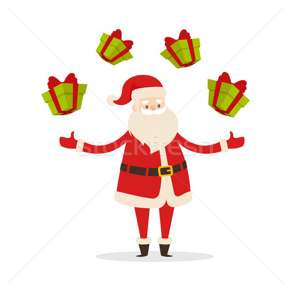 Santa Claus Jungle with Gift Boxes Isolated Vector Stock photo © robuart