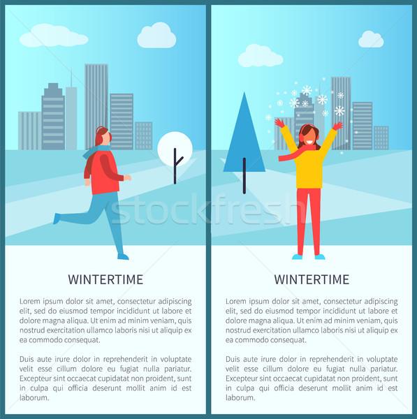 Wintertime Activities in Park Vector Illustration Stock photo © robuart