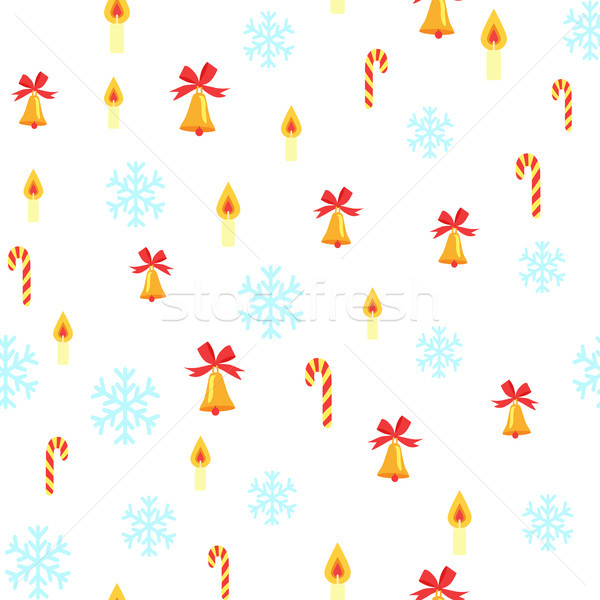 Seamless Pattern with Jingle Bells and Snowflakes Stock photo © robuart