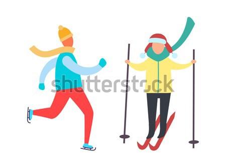 Estudar snowboarding pai branco homem branco vermelho Foto stock © robuart