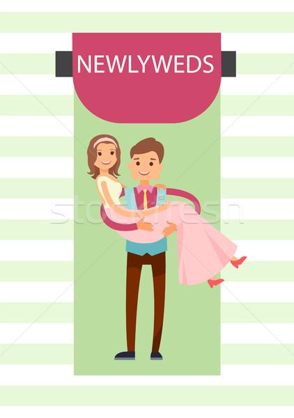Ifjú pár menyasszony vőlegény szalag visel hosszú Stock fotó © robuart
