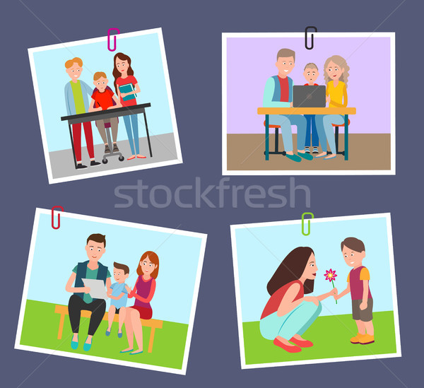 Set of Colorful Banners with Parents and Children Stock photo © robuart