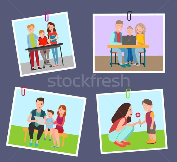 Szett színes bannerek szülők gyerekek izolált Stock fotó © robuart