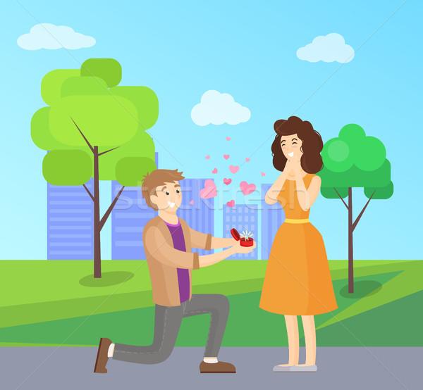 男 提案 女性 幸せ カップル ストックフォト © robuart