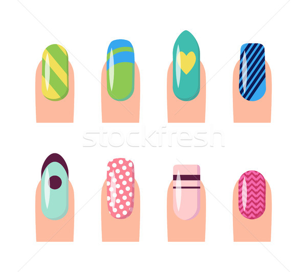 Nail Service and Art Poster Vector Illustration Stock photo © robuart