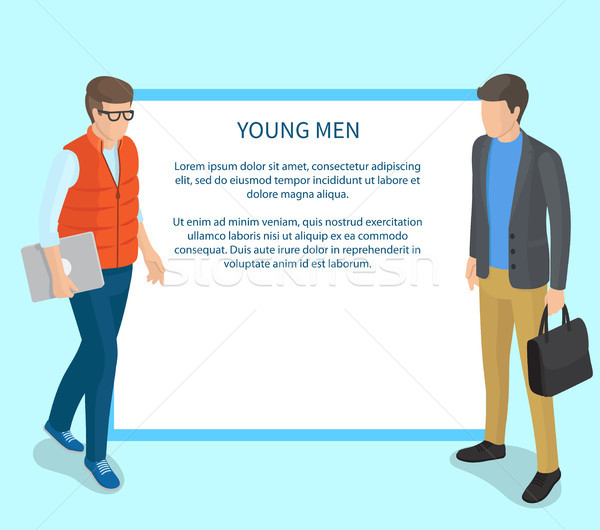 Young Men Wearing Casual Clothing Illustration Stock photo © robuart