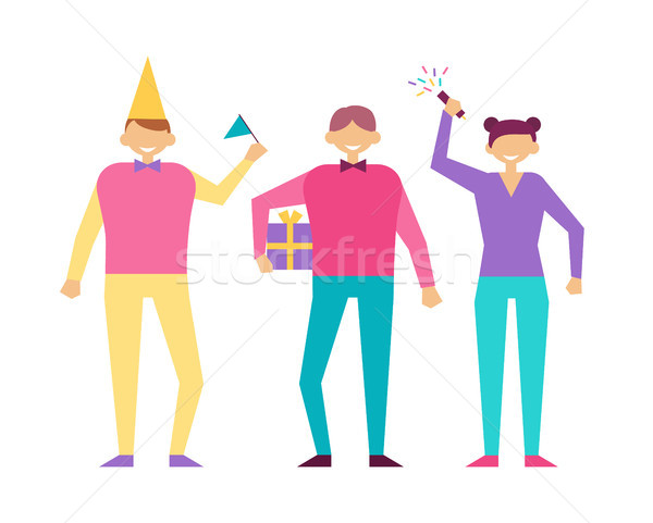 Positive People in Cartoon Style on Birthday Party Stock photo © robuart