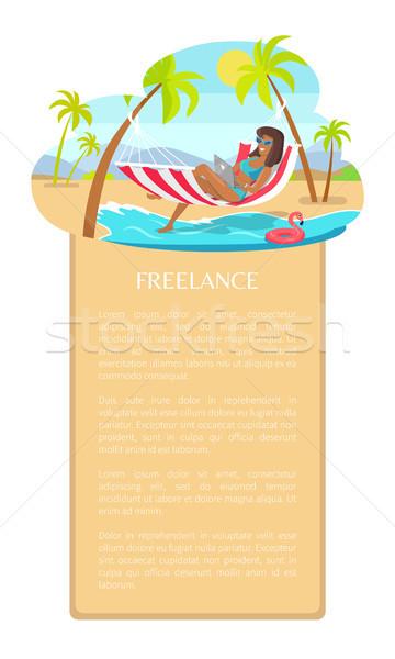 Szabadúszó poszter nő szöveg minta munkás Stock fotó © robuart