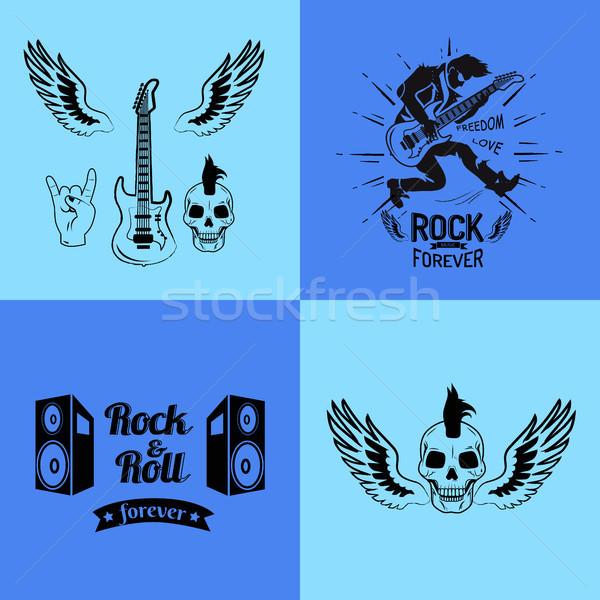 Voor altijd gitaar vrijheid liefde ingesteld iconen Stockfoto © robuart