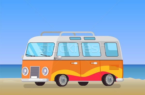 キャラバン 旅行 バス 海岸線 背景 公共交通機関 ストックフォト © robuart