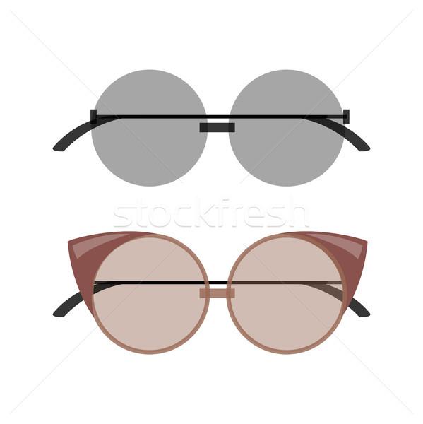 Stylish Female Round and Cat-Eye Sunglasses Set Stock photo © robuart