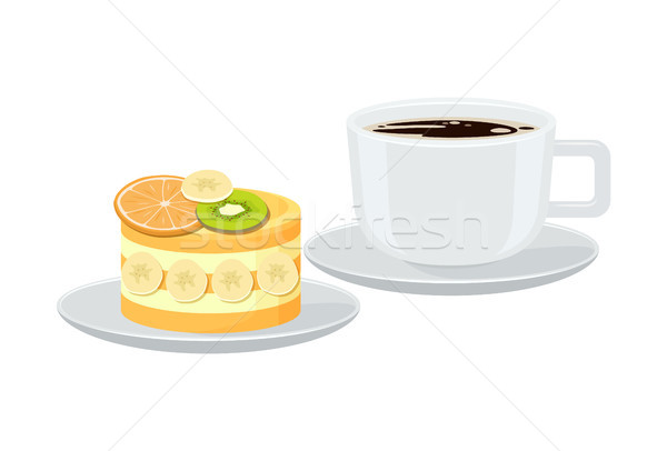 Brilhante bandeira copo café expresso saboroso torta Foto stock © robuart