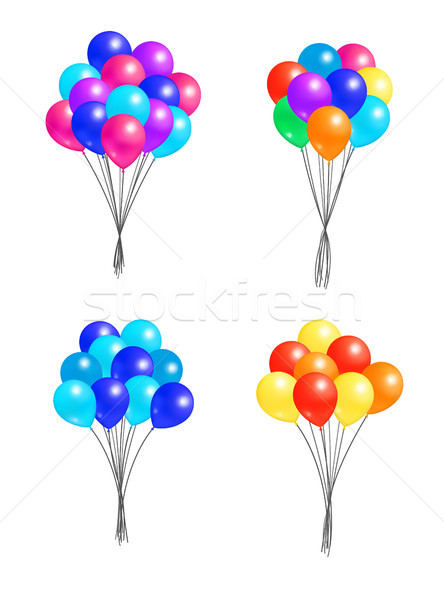 Set Bunches Helium Colorful Air Balloons Isolated Stock photo © robuart