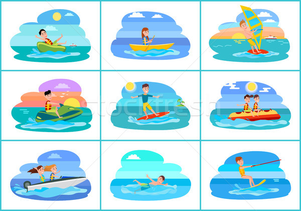 Sailboat Collection of Sport Vector Illustration Stock photo © robuart