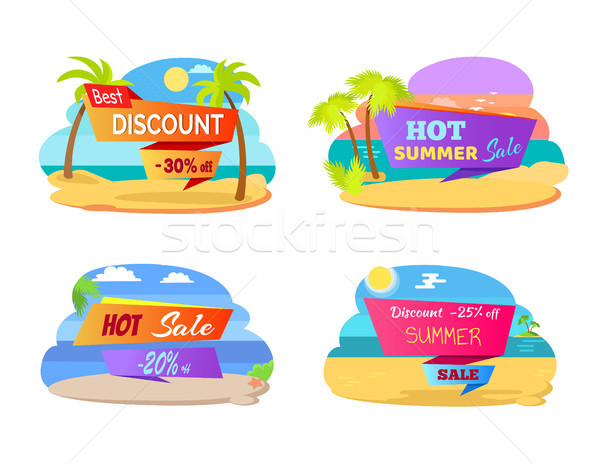 Best Discount Promotional Stickers with Palms Set Stock photo © robuart