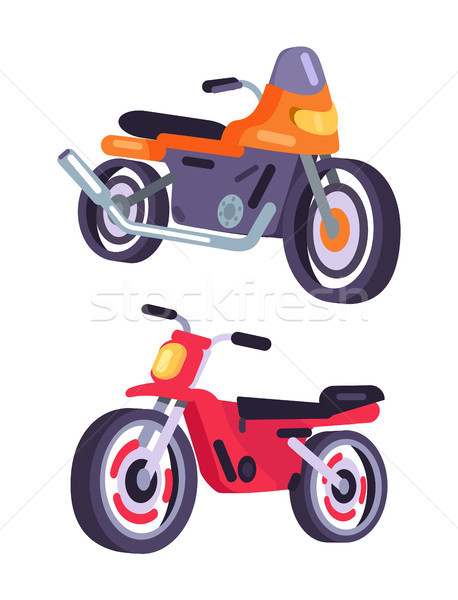 Motorbikes Isolated on White Background, Vector Stock photo © robuart