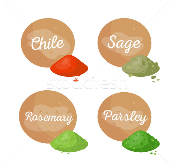 Chile and Sage Collection Vector Illustration Stock photo © robuart