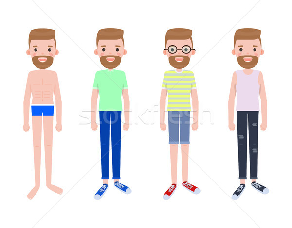 Man Constructor, Male Character in Pants Vector Stock photo © robuart